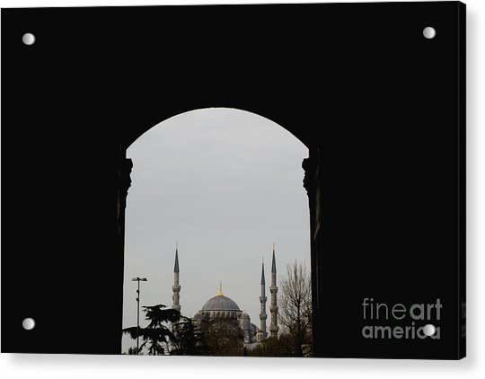 minarets in the city for the prayer of the Muslim religion Acrylic Print
