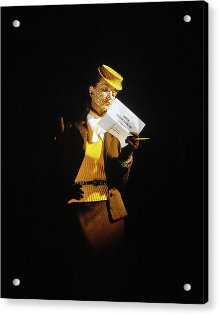 Model In A Wool Suit By Traina-norell Acrylic Print by John Rawlings