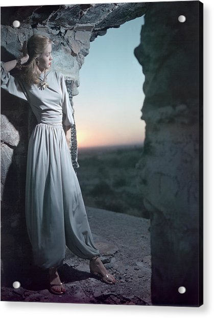 Model In Claire Mccardell Trouser Set At Twilight Acrylic Print by Serge Balkin
