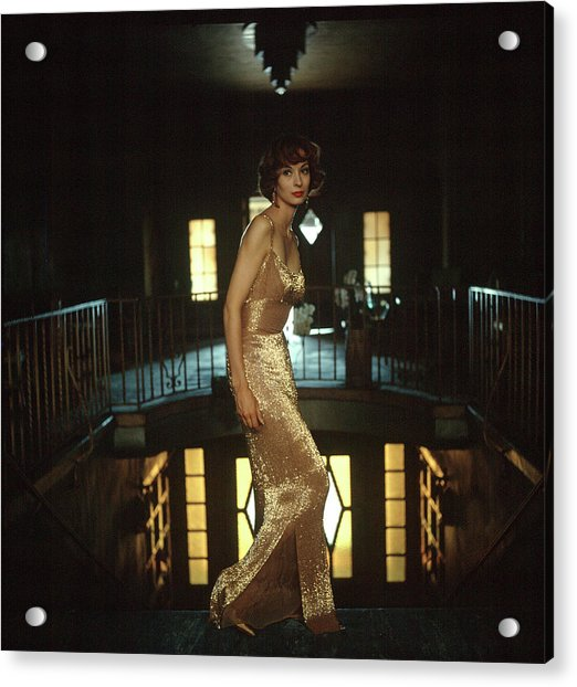 Model Wearing Gold-beaded Sheath Gown Acrylic Print by Gordon Parks