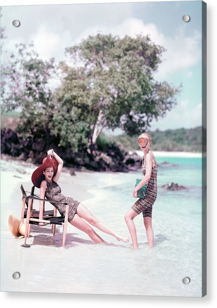 Models At The Beach In St. John Acrylic Print by Richard Rutledge