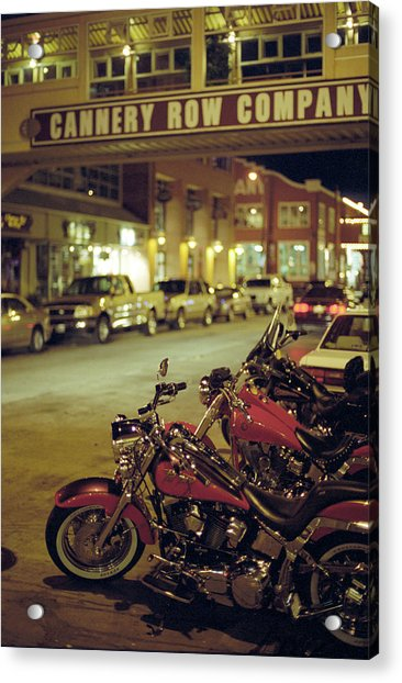 Motor Bikes And Cars Parking At Cannery Acrylic Print