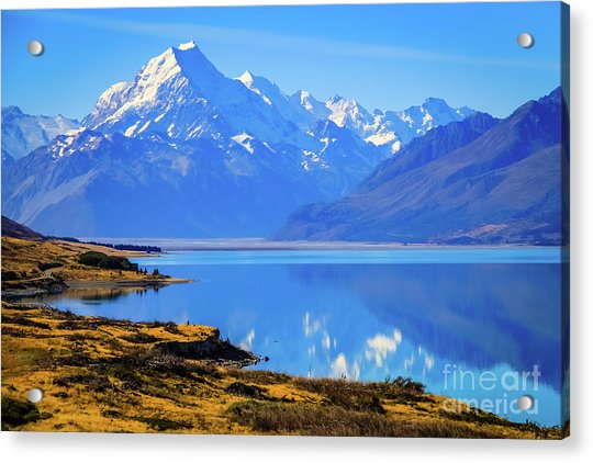 Mount Cook Overlooking Lake Pukaki,  New Zealand Acrylic Print