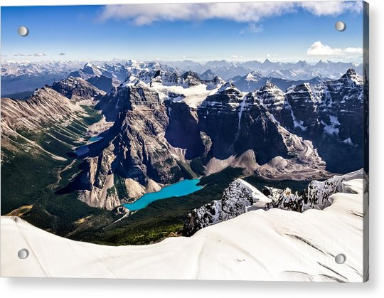 Mountain Range View From Mt Temple With Acrylic Print