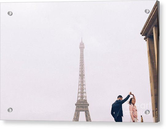 Newly-wed Couple On Their Honeymoon In Paris, Loving Having A Date Near The Eiffel Tower Acrylic Print