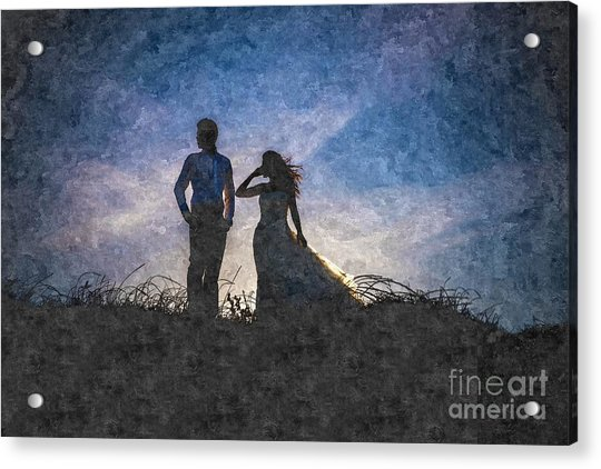 Newlywed Couple After Their Wedding At Sunset, Digital Art Oil P Acrylic Print