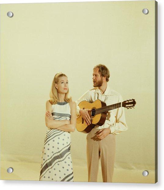 Nina And Frederik Perform On Tv Show Acrylic Print by David Redfern