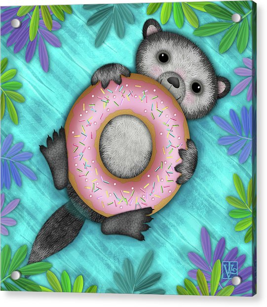 O Is For Otter With An O So Delicious Doughnut Acrylic Print