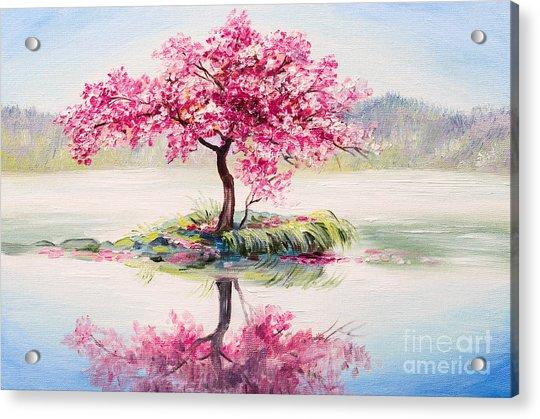 Oil Painting Landscape, Oriental Cherry Acrylic Print