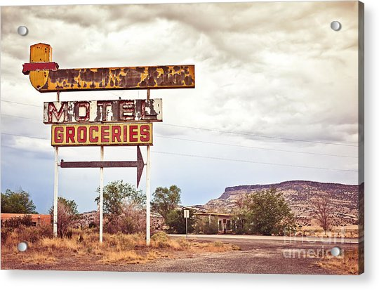 Old Motel Sign On Route 66, Usa Acrylic Print