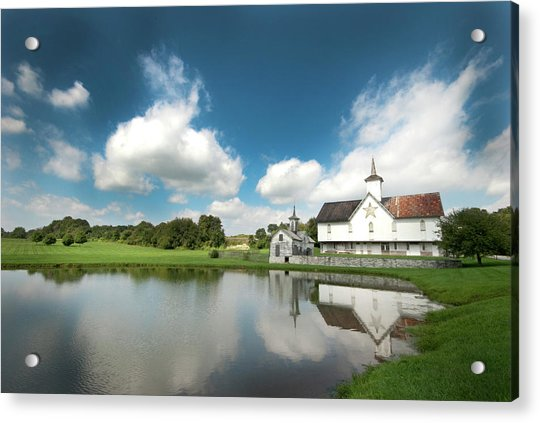 Old Star Barn And Pond Reflection Acrylic Print