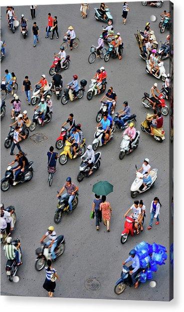 Overhead View Of Motorbike Traffic Acrylic Print by Rwp Uk