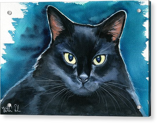 Ozzy Black Cat Painting Acrylic Print