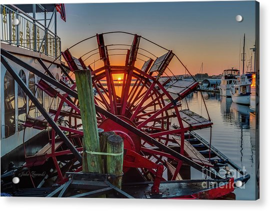 Paddle Wheel Sunrise Acrylic Print