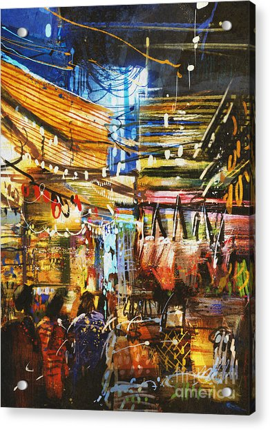 Painting Showing Variegated Colors Of Acrylic Print by Tithi Luadthong