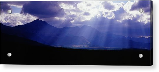 Panoramic Beaming Light In Waterton Acrylic Print by Jason v