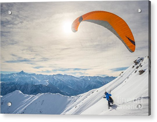 Paraglider Running On Snowy Slope For Acrylic Print
