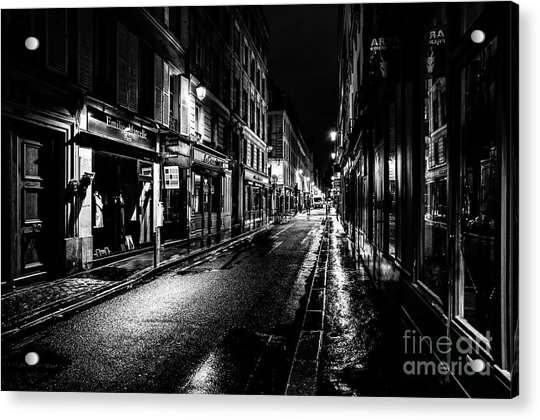 Paris At Night - Rue De Vernueuil Acrylic Print