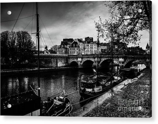 Paris At Night - Seine River Towards Pont Neuf Acrylic Print