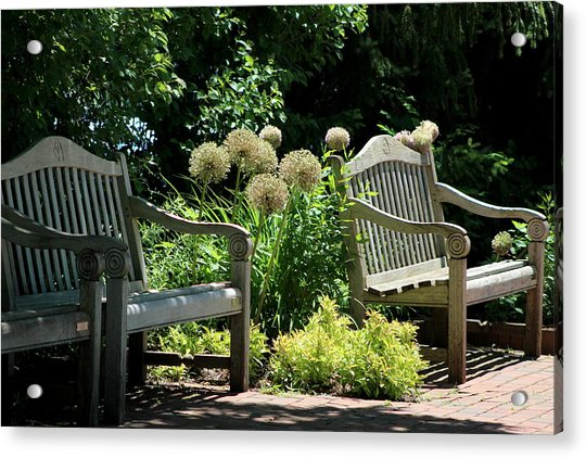 Park Benches At Chicago Botanical Gardens Acrylic Print