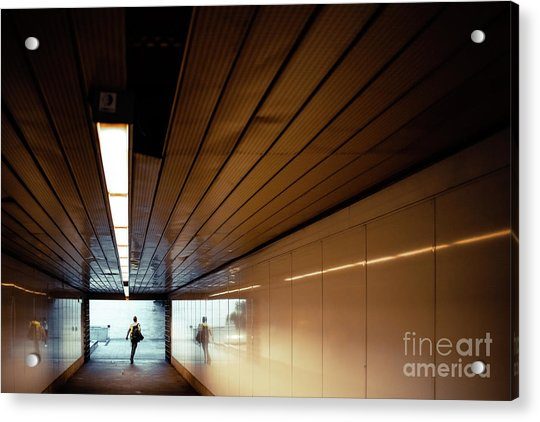 Passengers In A Hurry At The End Of A Tunnel At The Entrance To The Metro Station. Acrylic Print