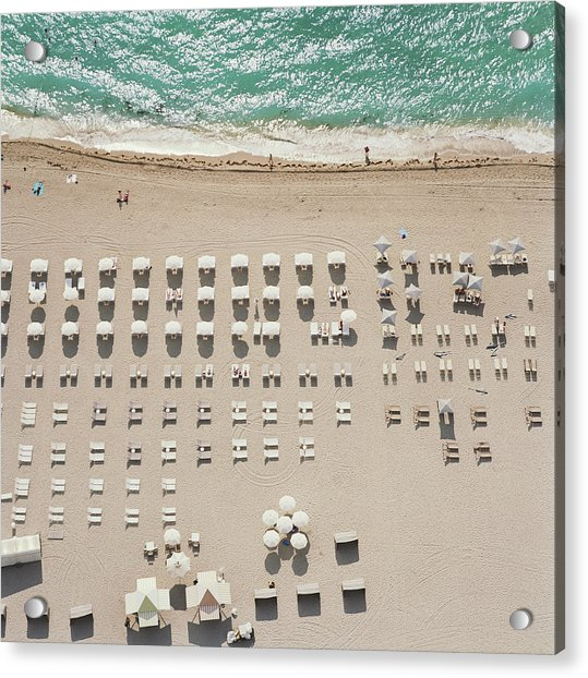 People At Beach, Using Rows Of Beach Acrylic Print