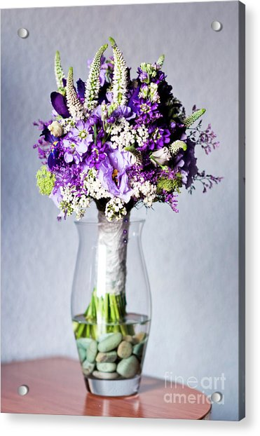 Perfect Bridal Bouquet For Colorful Wedding Day With Natural Flowers. Acrylic Print