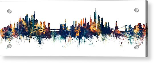 Philadelphia And New York City Skylines Mashup Acrylic Print