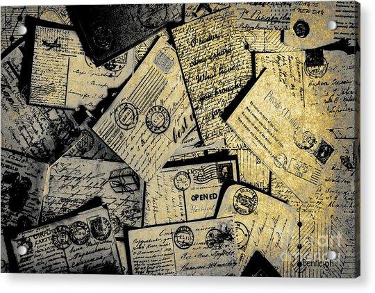 Piled Paper Postcards Acrylic Print