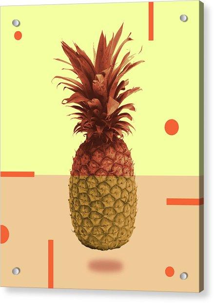 Pineapple Print - Tropical Decor - Botanical Print - Pineapple Wall Art - Beige, Peach - Minimal Acrylic Print