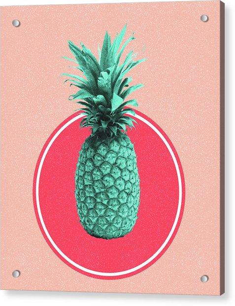 Pineapple Print - Tropical Decor - Botanical Print - Pineapple Wall Art - Blue, Pink - Minimal Acrylic Print