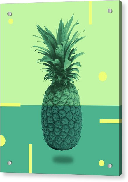 Pineapple Print - Tropical Decor - Botanical Print - Pineapple Wall Art - Blue, Teal, Aqua - Minimal Acrylic Print