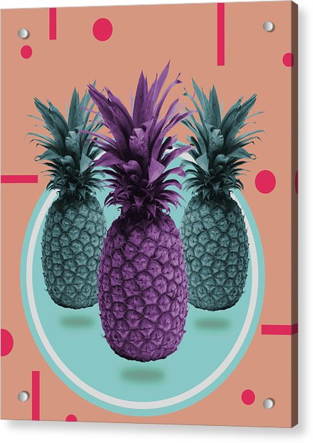 Pineapple Print - Tropical Decor - Botanical Print - Pineapple Wall Art - Brown, Blue - Minimal Acrylic Print