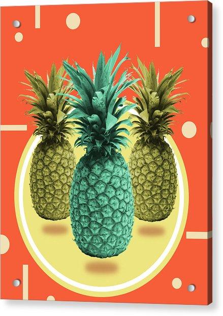 Pineapple Print - Tropical Decor - Botanical Print - Pineapple Wall Art - Orange, Blue - Minimal Acrylic Print