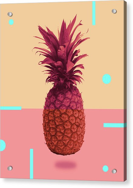Pineapple Print - Tropical Decor - Botanical Print - Pineapple Wall Art - Pink, Peach - Minimal Acrylic Print