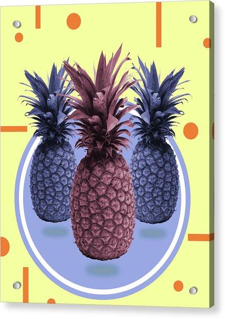 Pineapple Print - Tropical Decor - Botanical Print - Pineapple Wall Art - Yellow, Blue - Minimal Acrylic Print