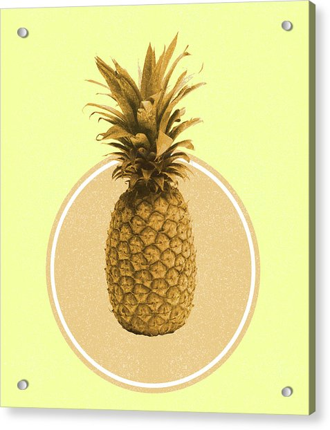 Pineapple Print - Tropical Decor - Botanical Print - Pineapple Wall Art - Yellow, Golden - Minimal Acrylic Print