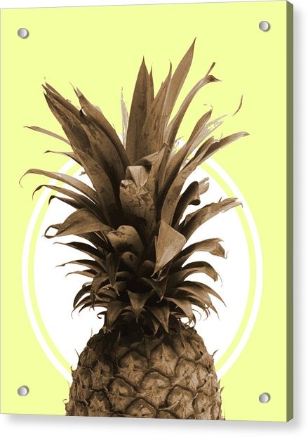 Pineapple Print - Tropical Poster - Botanical Print - Pineapple Wall Art - Yellow, Golden - Minimal Acrylic Print