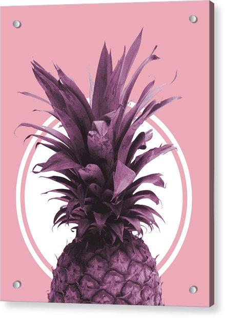 Pineapple Print - Tropical Wall Art - Botanical Print - Pineapple Poster - Purple - Minimal, Modern Acrylic Print