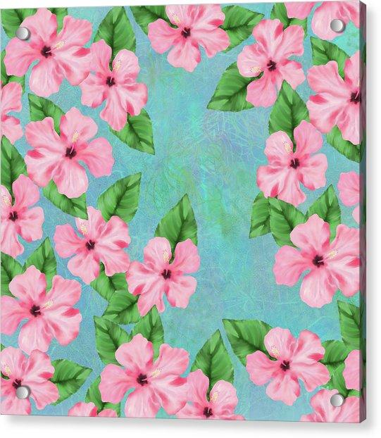 Pink Hibiscus Tropical Floral Print Acrylic Print