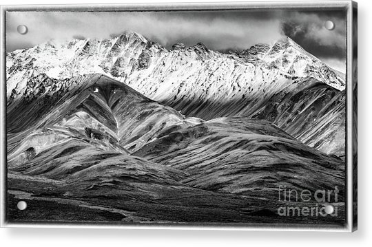 Polychrome Mountain, Denali National Park, Alaska, Bw Acrylic Print