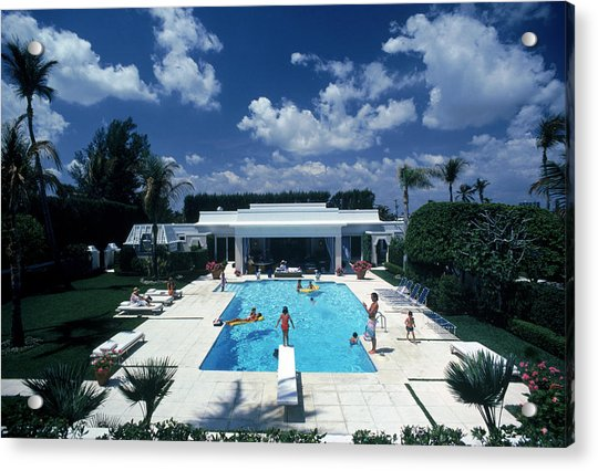 Pool In Palm Beach Acrylic Print by Slim Aarons