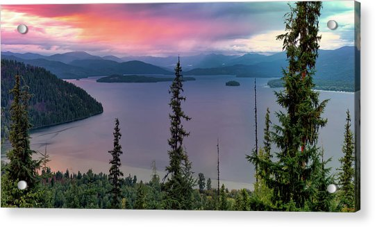 Priest Lake Sunset View Acrylic Print by Leland D Howard