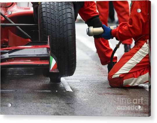 Professional Racing Team At Work During Acrylic Print