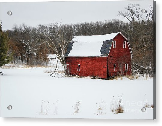 Red Barn In Snow Acrylic Print