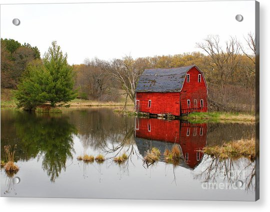 Red Barn Reflections Acrylic Print