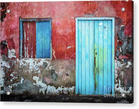 Red, Blue And Grey Wall, Door And Window Acrylic Print