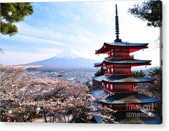 Red Pagoda With Mt. Fuji As The Acrylic Print