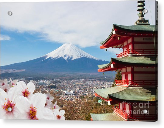 Red Pagoda With Mt Fuji Background And Acrylic Print