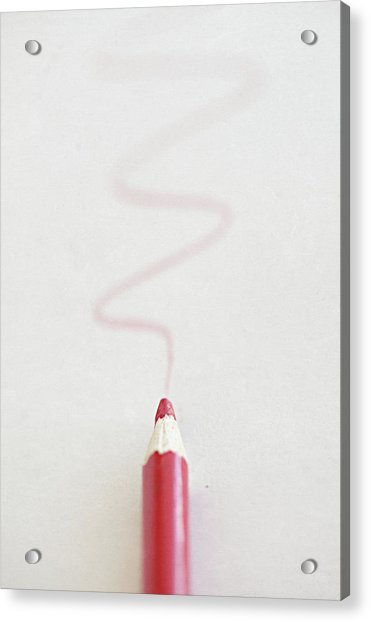 Red Pencil With Red Scribble Line Acrylic Print